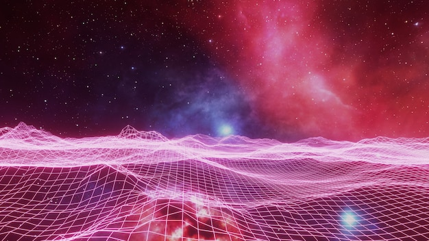 Universo de fantasia e fundo do espaço, render 3d