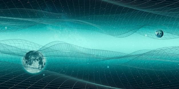 Universo e linhas estruturais mesa do futuro universo geométrico malha fantasy sky cyberspace landscape 3d illustration