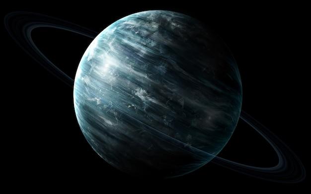 Urano no espaço, ilustração 3d. .