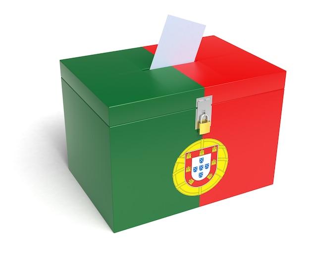 Urna de portugal com bandeira portuguesa. isolado em um fundo branco.