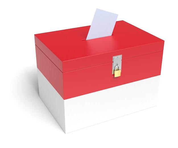 Urna eleitoral com bandeira da indonésia. fundo branco isolado. renderização 3d.