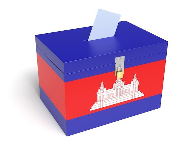 Urna eleitoral com bandeira do camboja. fundo branco isolado. renderização 3d.