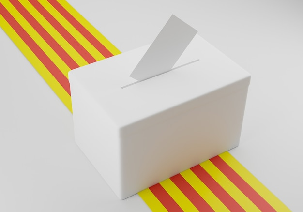 Urna eleitoral com um envelope de voto na fenda pronta para votar. bandeira da catalunha