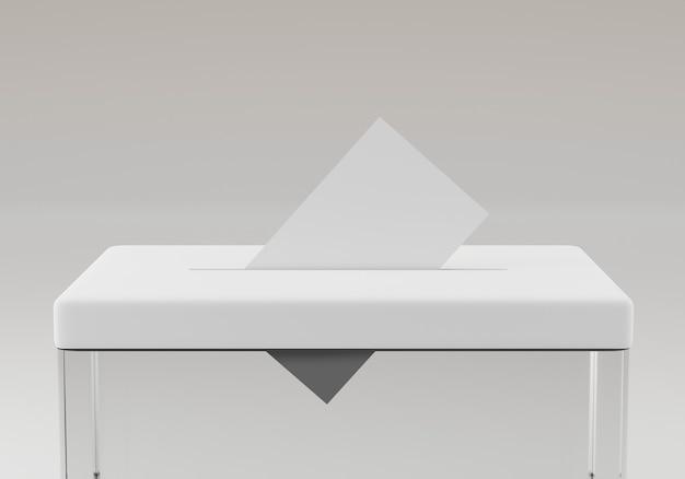 Urna eleitoral com um voto isolado