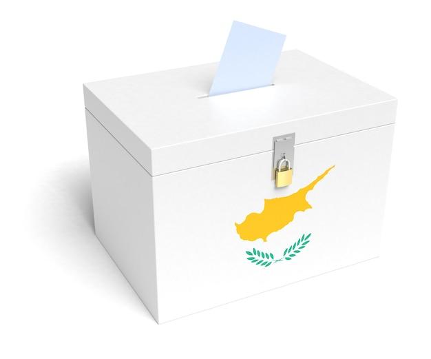 Urna eleitoral da bandeira cipriota. fundo branco isolado. renderização 3d