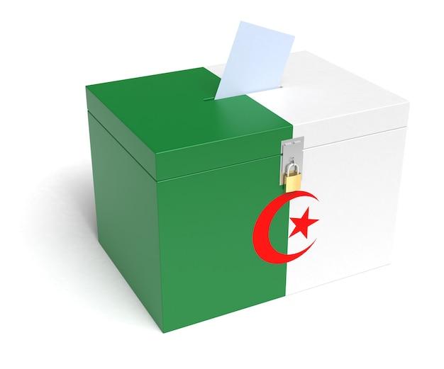 Urna eleitoral da bandeira da argélia. renderização 3d.