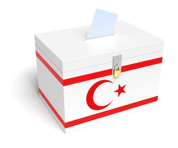 Urna eleitoral da bandeira do chipre do norte. fundo branco isolado. renderização 3d.