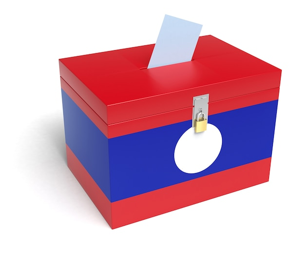 Urna eleitoral da bandeira do laos. fundo branco isolado. renderização 3d.