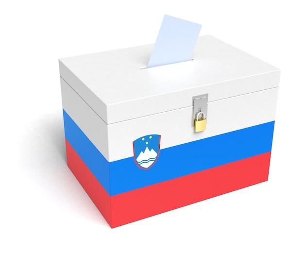 Urna eleitoral da eslovênia com bandeira eslovena. isolado em um fundo branco.