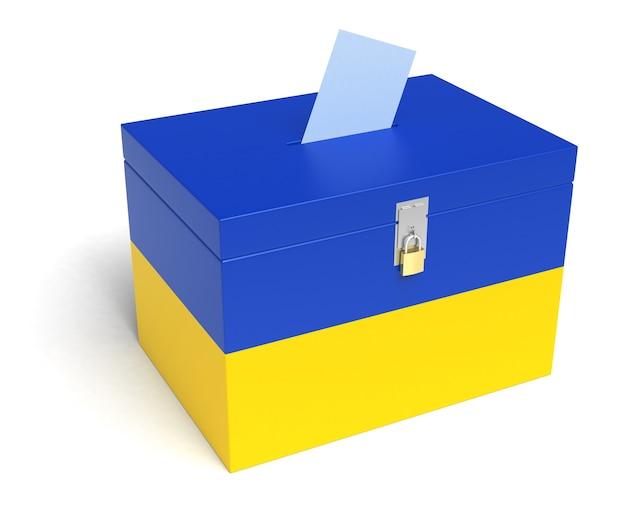 Urna eleitoral da ucrânia com bandeira ucraniana. isolado em um fundo branco.