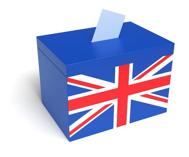 Urna eleitoral do reino unido com a bandeira britânica isolada no fundo branco