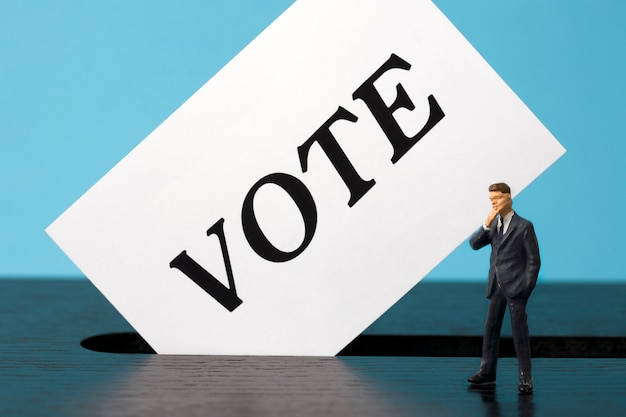 Urnas com o eleitor em miniatura