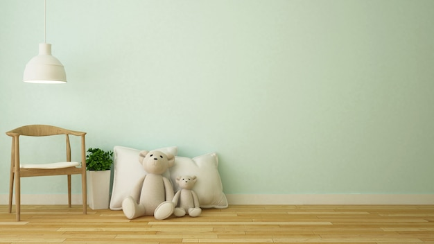 Urso boneca e travesseiro na sala de criança ou café - renderização 3d