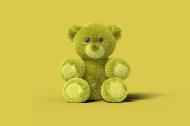 Urso de brinquedo amarelo está sentado no chão, sobre um fundo amarelo. imagem abstrata. negócio de brinquedos de conceito mínimo. 3d render.