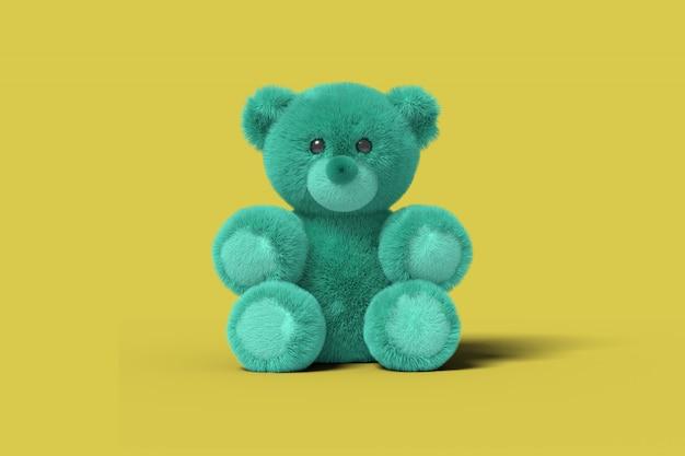 Urso de brinquedo azul está sentado no chão em um fundo amarelo, 3d, render