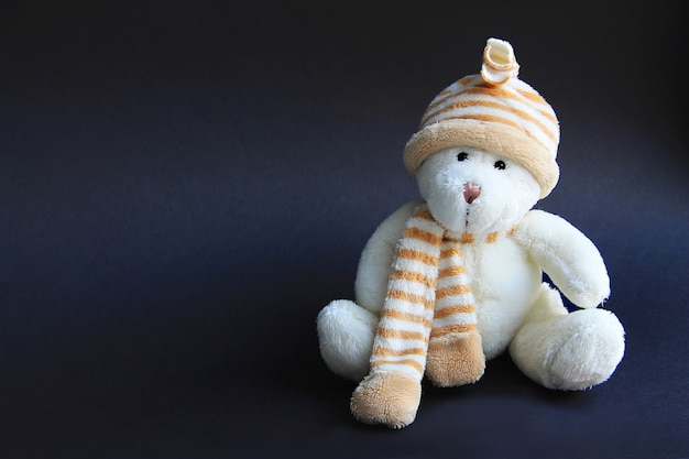 Urso de brinquedo branco no chapéu e cachecol em um fundo preto