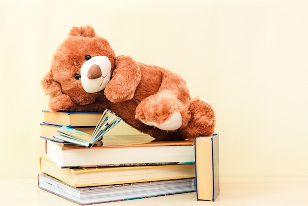 Urso de brinquedo lendo um livro interessante, mostrando que até lê brinquedos. conceito de aprendizagem do bebê