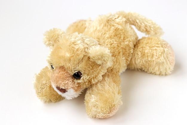 Urso de brinquedo macio está localizado em um fundo branco
