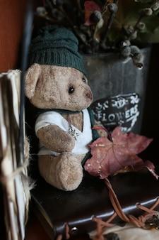 Urso de brinquedo retrô e livros antigos com letras de penas