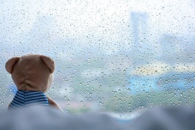 Urso de peluche só que senta-se na cama e que olha para fora na janela no dia chuvoso.