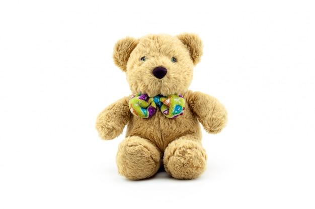 Urso de pelúcia brinquedo isolado no fundo branco