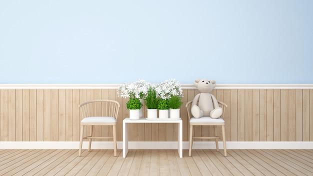 Urso de pelúcia e flor na sala azul - renderização 3d