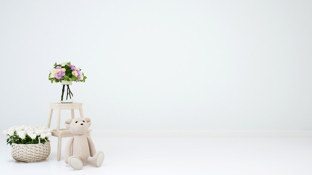 Urso de pelúcia e flor para obras de arte - renderização em 3d