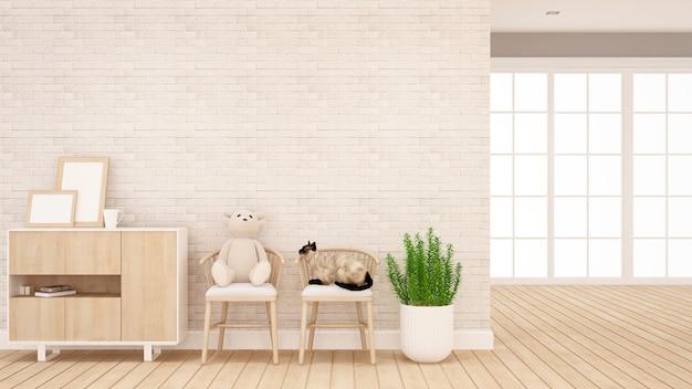Urso de pelúcia e gato na cadeira na sala de estar ou quarto de criança - design de interiores para obras de arte