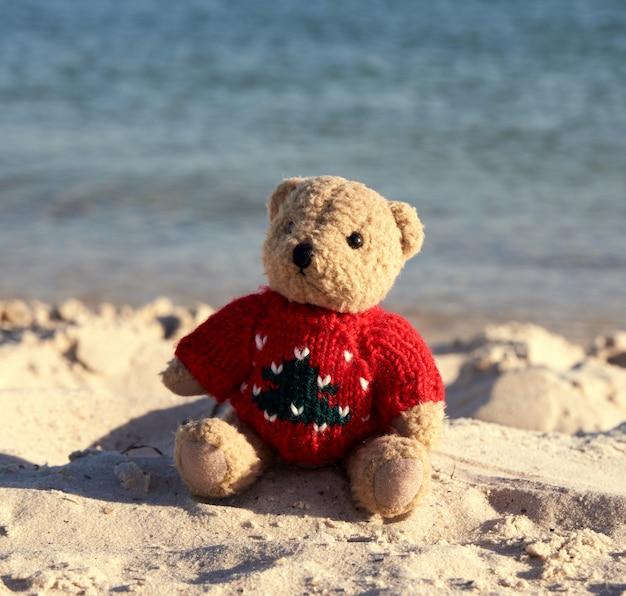 Urso de pelúcia marrom em um suéter vermelho sentado na areia da praia