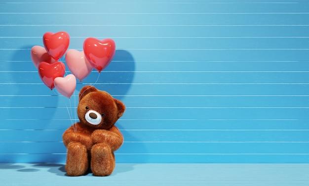 Urso de pelúcia marrom segurando balões de coração com fundo azul. renderização 3d Foto Premium