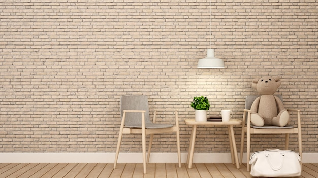 Urso de pelúcia na cadeira criança quarto ou café, deco de parede de tijolo