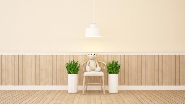 Urso de pelúcia na cadeira em casa ou apartamento - renderização 3d