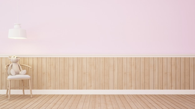 Urso de pelúcia na cadeira na sala-3d rosa rendering.jpg