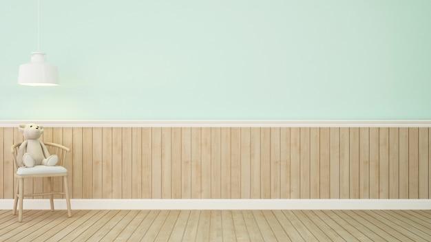 Urso de pelúcia na cadeira na sala verde-3d rendering.jpg