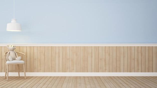 Urso de pelúcia na cadeira no quarto azul-3d rendering