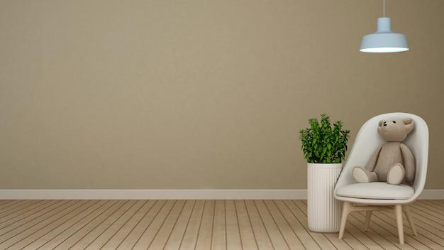 Urso de pelúcia na poltrona em casa ou apartamento - renderização 3d