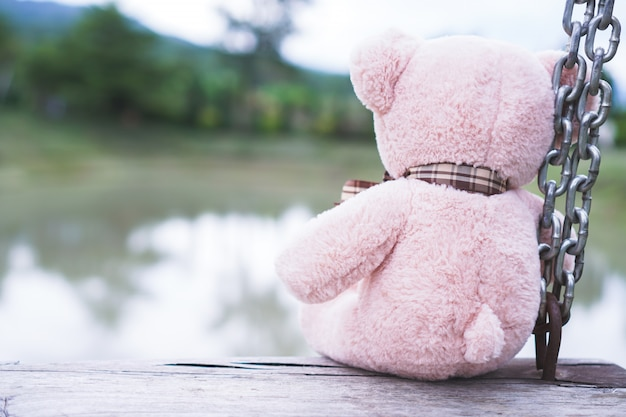 Urso de pelúcia no chão de madeira.