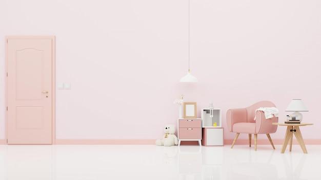 Urso de pelúcia no quarto das crianças na parede rosa. renderização 3d