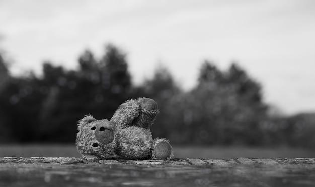 Urso de pelúcia perdido com uma cara triste deitado na calçada com o céu borrado
