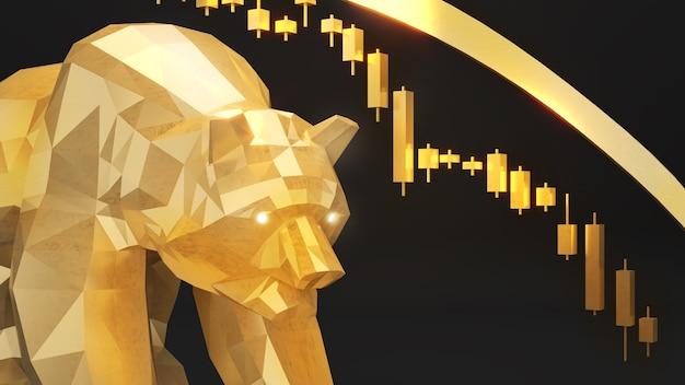 Urso dourado e gráfico de baixa; lucratividade em um mercado em baixa. investimentos e mundo dos negócios