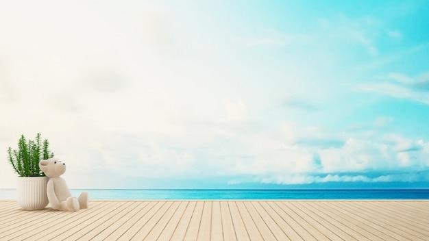 Urso pelúcia, ligado, terraço, vista mar, -, 3d, fazendo