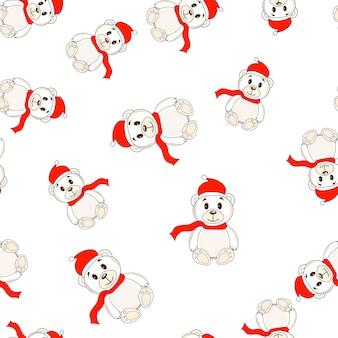 Ursos em chapéus de natal papai noel sem costura padrão