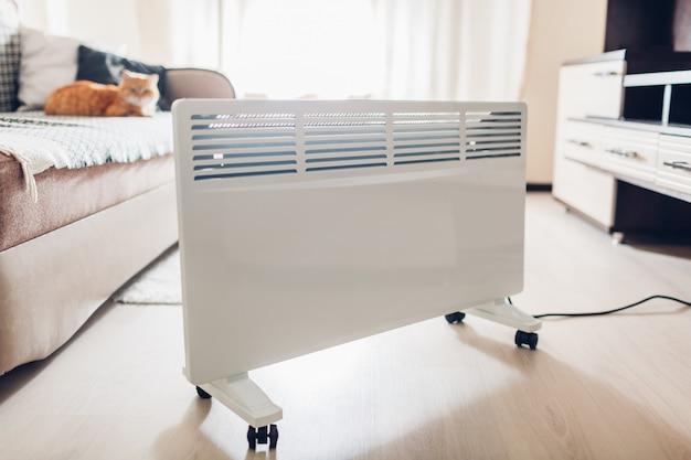 Usando aquecedor em casa. estação de aquecimento. aquecimento do gato sentado pelo dispositivo