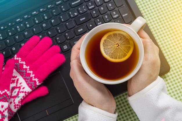 Usando o laptop em um inverno frio - fêmea com luvas.
