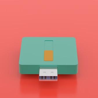 USB flash drive pop art cor estilo e cópia espaço para seu texto