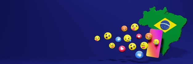 Use emoticon no brasil para as necessidades de tv de mídia social e espaço em branco da capa do site