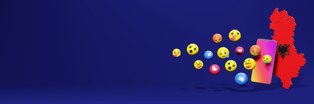 Use o emoticon das redes sociais na albânia para as necessidades da tv e do espaço em branco da capa do fundo do site