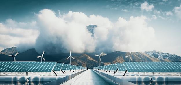 Usina de energia solar flutuante e fazenda de turbinas eólicas offshore com fundo de montanha majestosa. renderização 3d