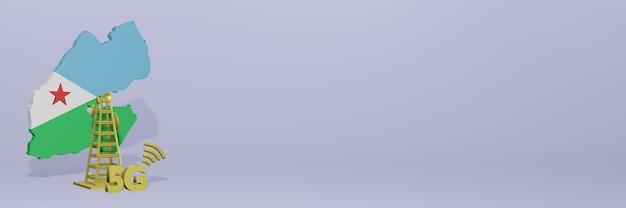 Uso de 5g em djibouti para as necessidades de tv de mídia social e espaço em branco da capa do site