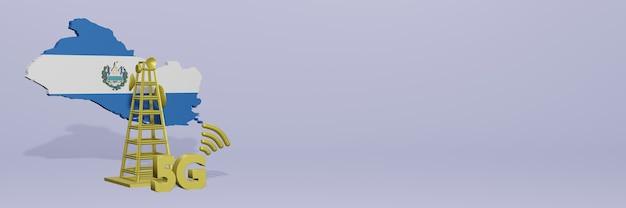 Uso de 5g em el savador para as necessidades de tv de mídia social e espaço em branco da capa do site